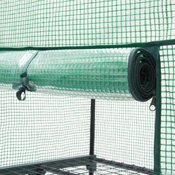Relaxdays Gewächshaus auf Rollen 130 x 70 x 57 cm HxBxT, 3 Etagen Foliengewächshaus f. Balkon m. PE-Gitterfolie, grün - 5