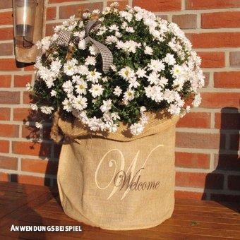 Videx-Winterschutz Jute-Übertopf Welcome, H: 35cm, B: 38cm, natur - 1